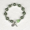 green imitation pearl and silver tone rosary Bracelet