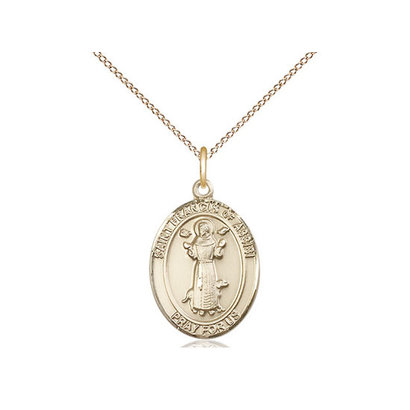 "14 KT Gold- Francis Assissi OVL Medal - GF 18"" LT Curb CH CO4-LC/20"