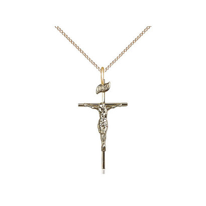 "14 kt Gold - GF Crucifix, GF 18"" LT curb CH CO4-LC/20"