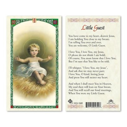 Little Guest Laminated Holy Card, Printed in Italy