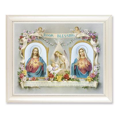 baby room blessing frame white