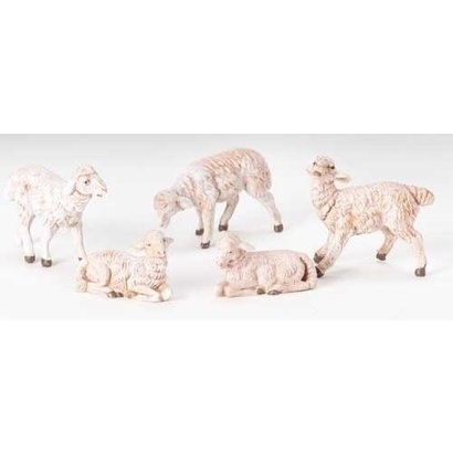 "5"" Scale Fontanini 5 Pc Set of White Sheep"