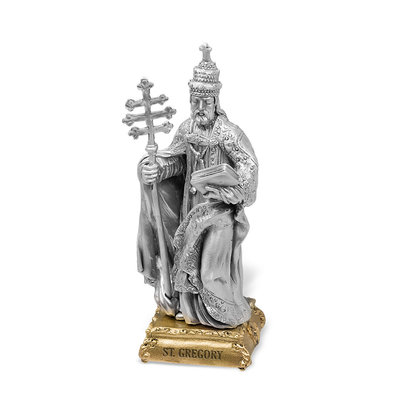 "St. Gregory - 4"" Pewter Statue"