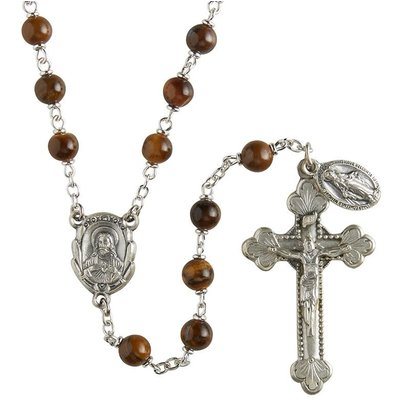 Genuine Tiger Eye Italian Semi-Precious Lock-Link Rosary