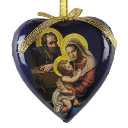 Gift Box of 6 Adoring Holy Family Heart Shaped Decoupage Ornament