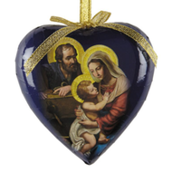 Adoring Holy Family Heart Shaped Decoupage Ornament