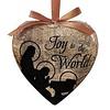 Gift Box of 6 Joy to the World Heart Shaped Decoupage Ornament