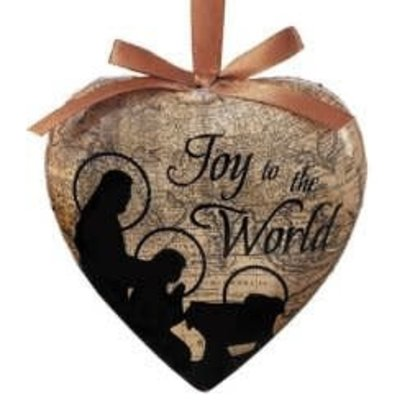 Gift Box of 6 Joy to the World Heart Shaped Decoupage Ornament