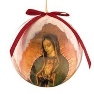 Gift Box of 6 Our Lady of Guadalupe with Roses Decoupage Ornament