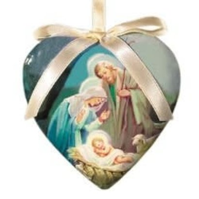 Gift Box of 6 Sleep in Heavenly Peace Heart Shaped Decoupage Ornament
