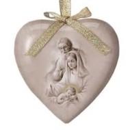 Nativity (Sepia) Heart Shaped Decoupage Ornament single