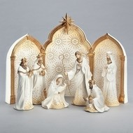 "11.25"" 9 Pc  Gold and White Nativity Set"