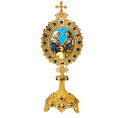 Holy Family Icon Monstrance - Reliquary Style Icon Shrine Virgin Mary Eternal Bloom 6 1/2 Inch