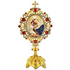 Madonna and Child Icon Shrine Monstrance - Reliquary Style - Decorated with Pearls Red and White Crystals 7 Inch