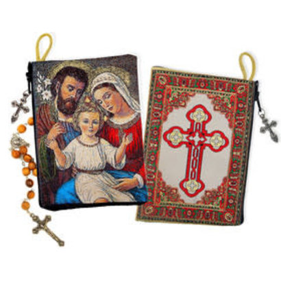 """Holy Family Two Sided Rosary Pouch Case With Cross 5 3/8""""x4"""""""