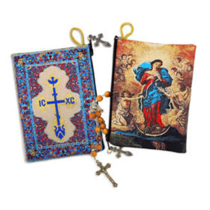 Our Lady Undoer of Knots and Cross on the back Side  Pouch 5 3/8 inch