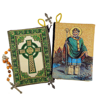 Saint Patrick - Irish Cross Rosary Icon Pouch 5 3/8 Inch