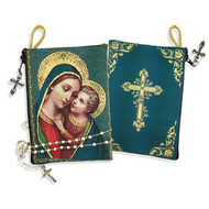 """Madonna & Child Rosary Icon Pouch 5 3/8""""x4"""" NEW!!"""