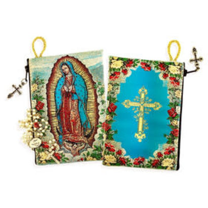"""Our lady of Guadalupe Cross on The Back Side Rosary Icon Pouch 5 3/8""""x4"""""""