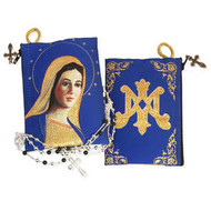 "Reversible - Virgin Of Grace & On The Back Side Symbol of Virgin Mary - Tapestry Rosary Icon Pouch 5 3/8""x4"""