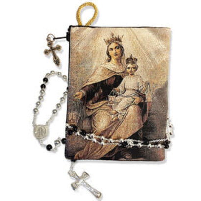 "Reversible Blessed Virgin Mary Our Lady of Mount Carmel Icon Rosary Pouch 5 3/8""x4"""