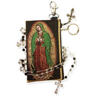 OL Of Guadalupe - Tapestry Cloth Rosary Key Chain Coin Holder Case Pouch 4 3/4 Inch Width REVERSIBLE