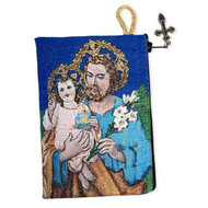 "Tapestry Reversible Saint Joseph Icon Rosary Pouch Case Keepsake Holder 5 3/8""x4"""