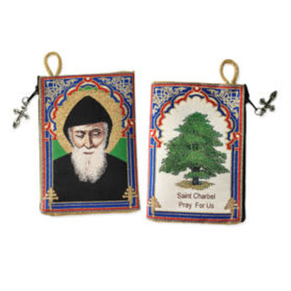 "Saint St Charbel (Sharbel) 2 Sided Sacred Image Tapestry Pouch - The ""Cedar Tree"" ON THE BACK SIDE"
