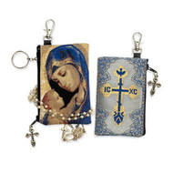 Madonna and Child - Reversible - Tapestry Cloth Rosary Key Chain Coin Holder Case Pouch 4 3/4 Inch Width