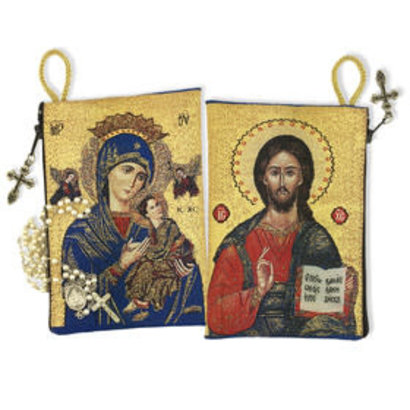 "Virgin of Perpetual Help & Christ The Teacher Rosary Icon Pouch 5 3/8""x4"""