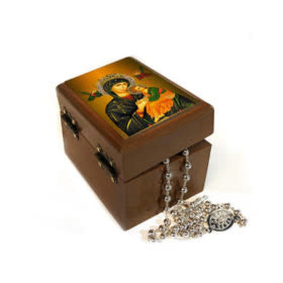"Perpetual Help Icon Keepsake Jewelry Rosary Prayer Bead Ukrainian Wooden Box t 3""x 2 1/4"" x 2 1/4"" H"