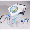 5x6mm Glass Bead Our Lady of Fatima Rosary with Enameled Our Father Beads