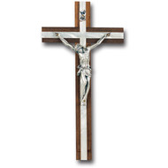 "10"" Wood Crucifix with Mother of Pearl Inlay"