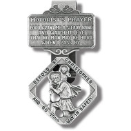 St. Christopher Genuine Pewter - Antique Finish, Hand Engraved Auto Visor Clip