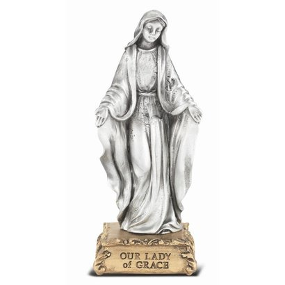 """Our Lady of Grace Pewter Statue On Base 4 1/2"""""""