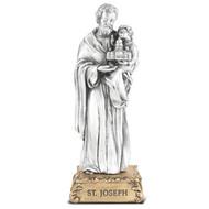 "St. Joseph Pewter Statue On Base 4 1/2"""