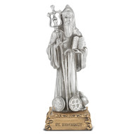 St. Benedict Pewter Statue On Base  4 1/2""