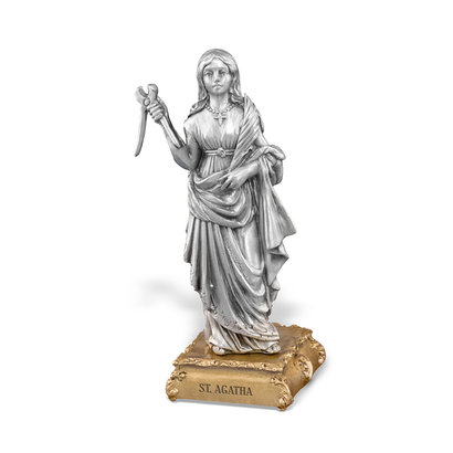 """St. Agatha Pewter Statue On Base  4 1/2"""""""