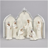 Nativity, 9 pc., Silver and White, w/ Triptych