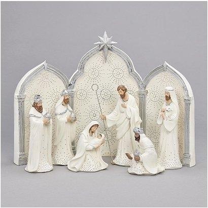 Nativity, 9 pc., Silver and White, w/ Triptych