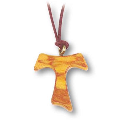 Olive Wood Tau Cross on Cord