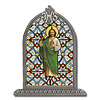St.Jude Textured Italian Art Glass in Arched Frame