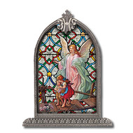 Guardian Angel Textured Italian Art Glass in Arched Frame
