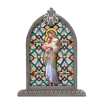OL of Divine Innocence Textured Italian Art Glass in Arched Frame