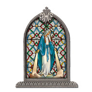 Our Lady of Grace Textured Italian Art Glass in Arched Frame