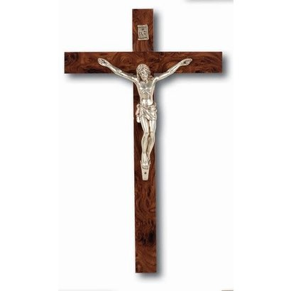 """10"""" Wood Crucifix with Metal Corpus Boxed"""