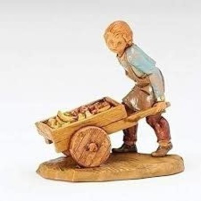 "5"" Hugo Villager w Cart Nativity Figure"