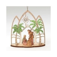 "Holy Family Ornament, Laser Cut Triptych 5""H"