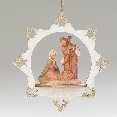 """5""""H Holy Family Star Ornament w/ Gold Tips"""