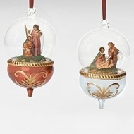 """6""""H Holy Family Glass Dome 2A Ornament"""
